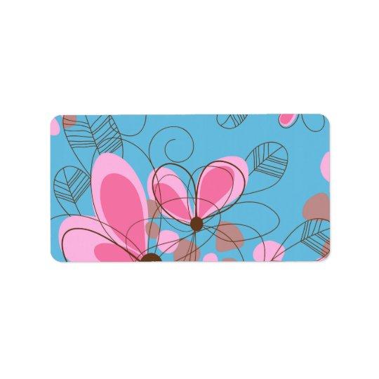 Étiquette Fleurs peintes à la main à la mode girly adorables