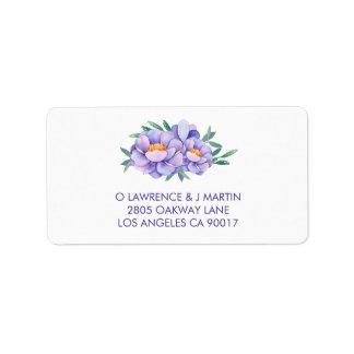 Étiquette Fleurs pourpres d'aquarelle