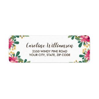 Étiquette Fleurs roses botaniques assez florales faites sur
