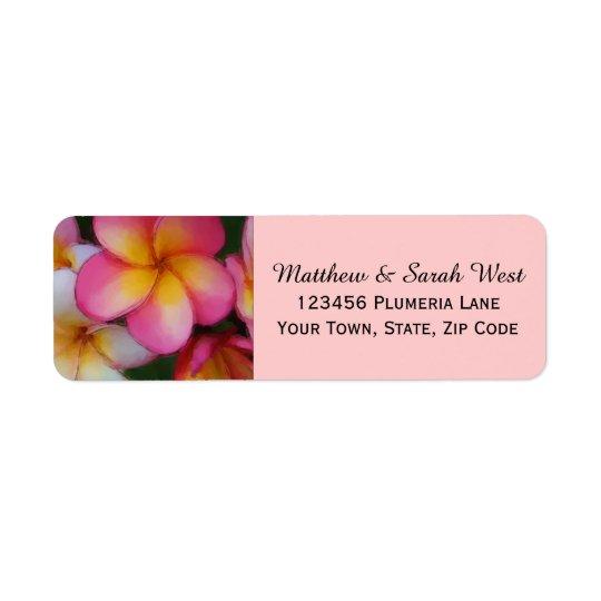 Étiquette Fleurs tropicales de Plumeria rose de Frangipani