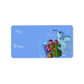 Étiquette flocon de neige de dragon de lil à et de cadeau