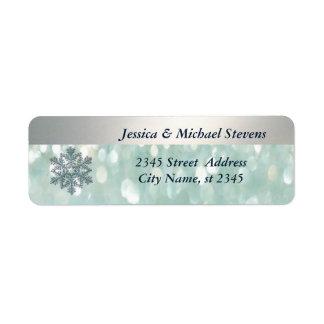 Étiquette Flocon de neige lumineux élégant de Noël de bokeh