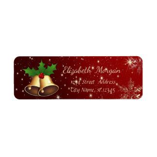 Étiquette Flocons de neige à la mode de Noël, Noël Bell d'or
