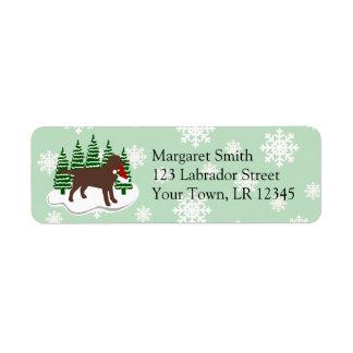 Étiquette Flocons de neige d'arbre de Noël de Labrador de