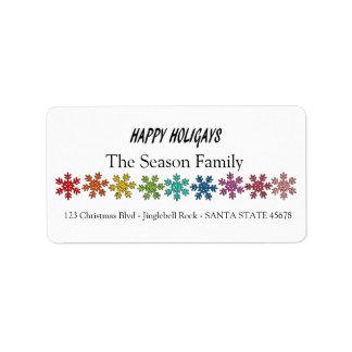 Étiquette Flocons de neige heureux d'arc-en-ciel de Holigays