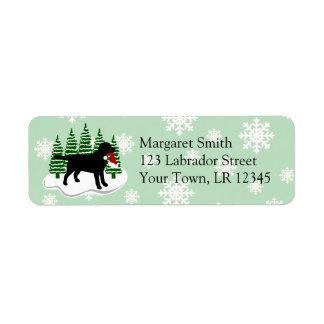 Étiquette Flocons de neige noirs d'arbre de Noël de Labrador