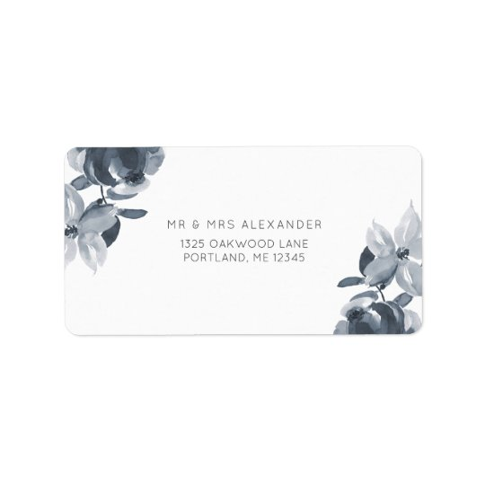 Étiquette floral bleu poussiéreux romantique de
