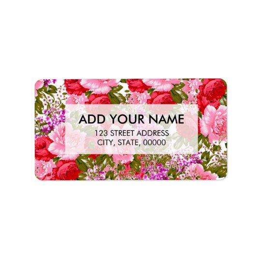 Étiquette Floral de Bohème rouge-rose vintage de roses verts