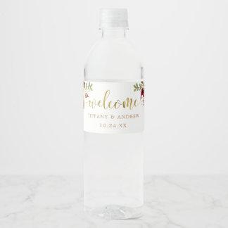 Étiquette floral de bouteille d'eau d'accueil de