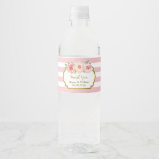 Étiquette floral de bouteille d'eau d'or de