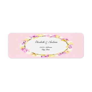 étiquette floral de fleur molle élégante