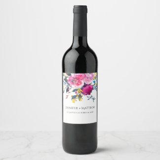 Étiquette floral de floraison de vin d'aquarelle