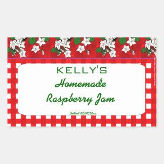 Étiquette floral de gelée de confiture de raspbery sticker rectangulaire