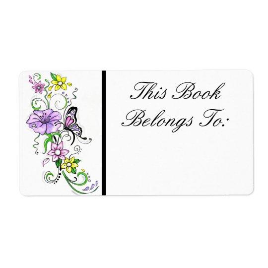 Étiquette floral de livre de papillon
