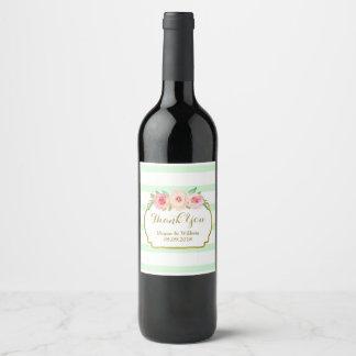 Étiquette floral de vin d'or de rose vert en bon