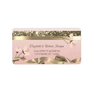 Étiquette floral élégant élégant de mariage