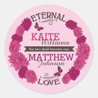 Étiquette floral moderne de mariage de guirlande sticker rond