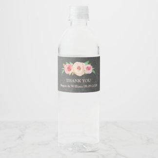 Étiquette floral rose de bouteille d'eau de