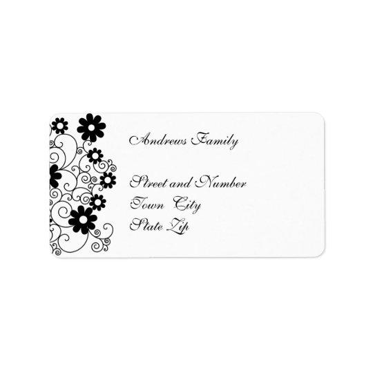 Étiquette Floral simple noir et blanc d'étiquette