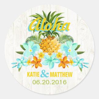 Étiquette floral tropical de mariage de plage de sticker rond