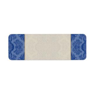 Étiquette Floral vintage de dentelle dans le bleu moyen