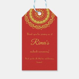 Étiquette florale indienne de cadeau de conception