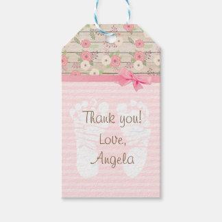 Étiquette florale rose de cadeau de baby shower de
