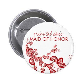 Étiquette florale rouge chic orientale de nom de badge rond 5 cm