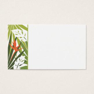 Étiquette florale tropicale orange de mariage cartes de visite