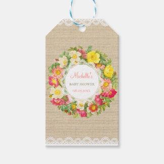 Étiquette florale vintage de cadeau de baby shower