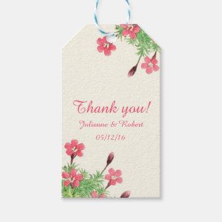 Étiquette florale vintage de cadeau de Merci de