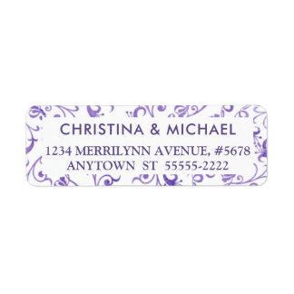 Étiquette Flourishes pourpres ultra-violets élégants
