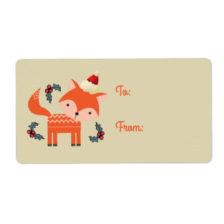 Étiquette Fox orange en cadeau mignon de Noël de casquette