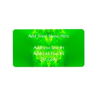 Étiquette Fractale verte d'orchidée de Madame pantoufle
