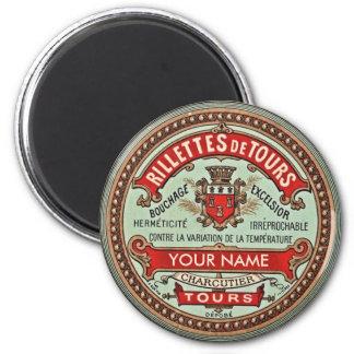 Étiquette français personnalisé d'apothicaire magnet rond 8 cm