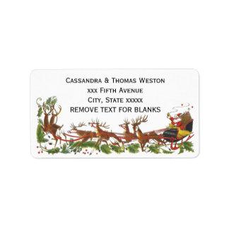 Étiquette Frontière de renne de Noël Père Noël Sleigh de