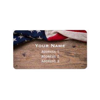 Étiquette Frontière vintage de drapeau américain
