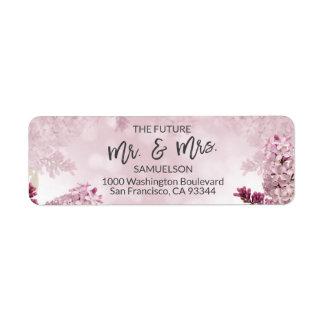 Étiquette Futurs M. et Mme lilas floraux Wedding Address