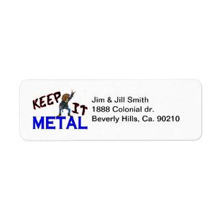Étiquette Gardez-le métal