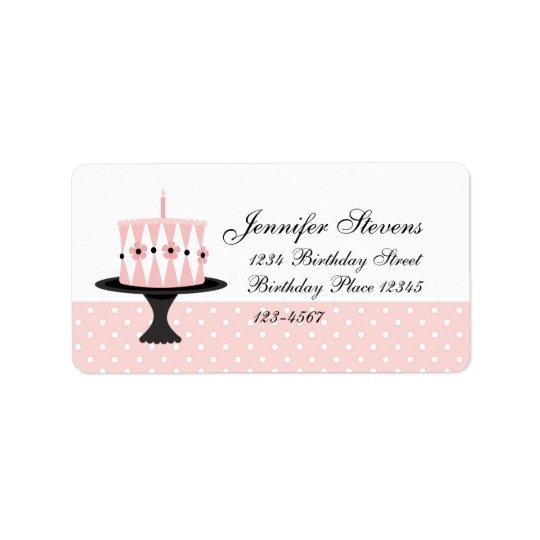 Étiquette Gâteau d'anniversaire floral rose
