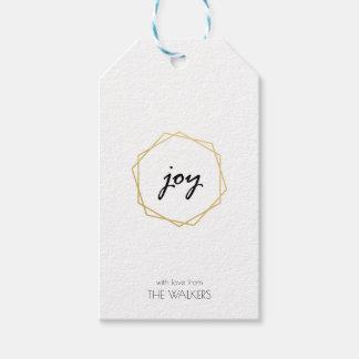 Étiquette géométrique de cadeau de joie