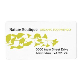 Étiquette Ginkgo d'or d'automne vert de nature
