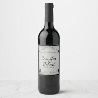 Étiquette gothique de vin de treillis de rose de