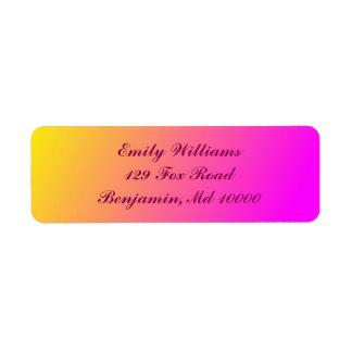 Étiquette Gradient jaune et rose avec du charme