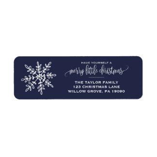 Étiquette Grand Noël de flocon de neige de marine