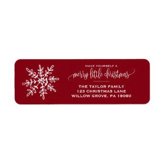 Étiquette Grand Noël rouge de flocon de neige