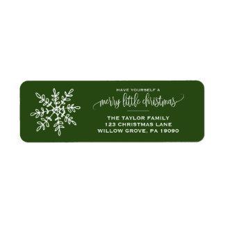 Étiquette Grand Noël vert de flocon de neige