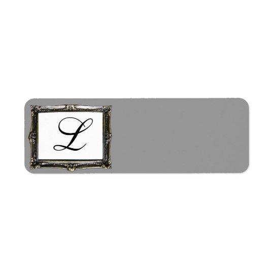 Étiquette gris d'initiale de monogramme