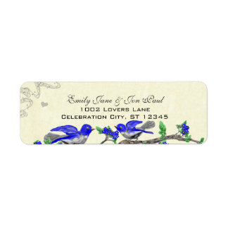 Étiquette gris vintage de retour de fleurs de bleu