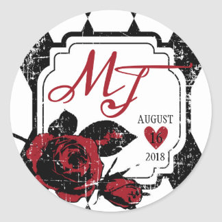 Étiquette grunge rose de mariage d'impression de